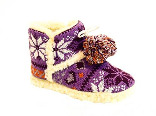 TMY- fille hüttenschuhe, fin avec motifs multicolore gestricktes chaud, les couleurs violet/blanc taille :  29 28/34/35 Multicolore - Violet