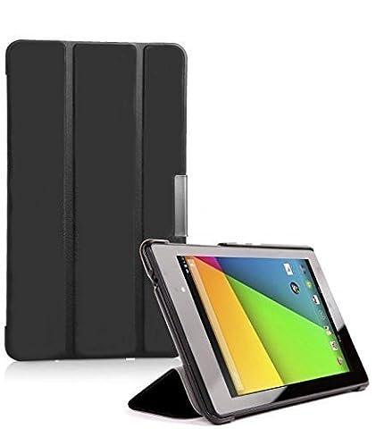 Inventcase Smart Multi-Fonctionnel 3-Fold Cover Case Étui Housse avec Réveil du Sommeil Fonction pour Asus Nexus 7 FHD (Tablette 7,0 Pouces, 2ème Génération - Modèle 2013) - Noir