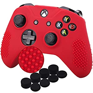 YoRHa Studded Silikon Hülle Abdeckungs Haut Kasten für Microsoft Xbox One X & Xbox One S Controller x 1 (rot) Mit Pro aufsätze thumb grips x 8