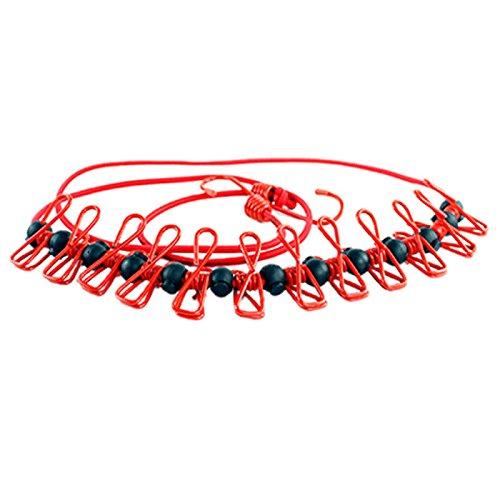 G2PLUS Flexible Wäscheleine mit 12 beschichteten Klammern 180 cm Ideal für Reisen (Rot)