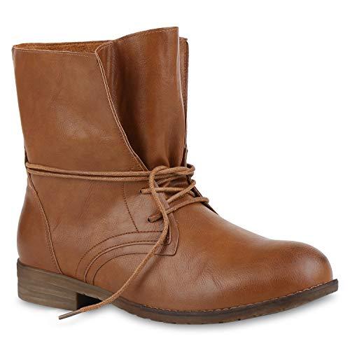 Stiefelparadies Damen Stiefeletten Schnürstiefeletten Leder-Optik Schuhe Kurzschaft-Stiefel Boots Klassische Schnürboots 59677 Braun 41 Flandell