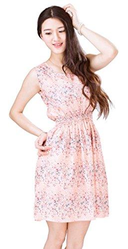 Bigood Robe Femme Mousseline de Soie Mini-robe Plage Col Rond Sans Rose léger N