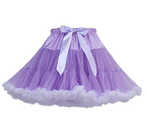 (Tütü Damen Tüllrock Mädchen Tutu Rock Petticoat Unterrock Ballett Kostüm Tüll Röcke überlagerte Rüsche Festliche Tütüs Erwachsene Pettiskirt Ballerina Für Dirndl Mini Rock Layered Hell Violett Weiß)