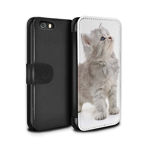 Stuff4 Coque/Etui/Housse Cuir PU Case/Cover pour Apple iPhone 4/4S / High five Design / Chatons mignons Collection Chaton curieux