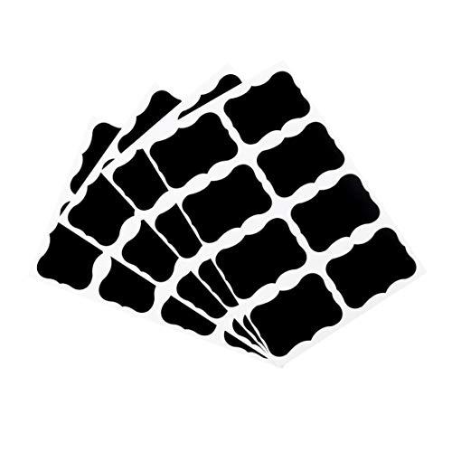 WEIWEITOE 36 Stück Tafel Tafel Kreide Bord Aufkleber Handwerk Küche Glas Etiketten 49 x 34mm Dekoration Aufkleber Tags schwarz