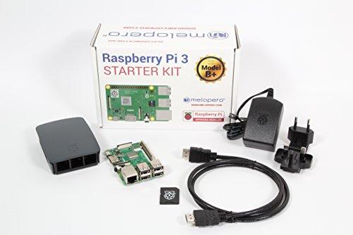 Melopero Raspberry Pi 3 Model B+ Official Starter Kit Black con 16GB microSD (con Raspbian)