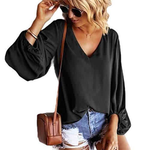 CuteRose Women Pure Colour Trendy Puff Sleeve Casual Weekend V-Neck Chiffon Tees Black L -