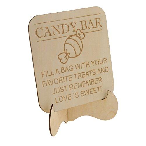 D DOLITY Natürliche Farbe ''Candy Bar'' Tischdekoration Tisch Schilder für Laden Hochzeit und Party