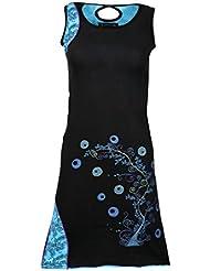 Mesdames coloré, robe sans manches avec fleurs et bulles motif et broderie.