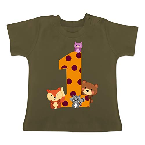 Geburtstag Waldtiere - 12-18 Monate - Olivgrün - BZ02 - Baby T-Shirt Kurzarm ()