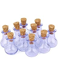10pcs Botellas Corcho Cristal Bombilla Plana Vial Deseando La Botella Colgante Bricolaje Purpura