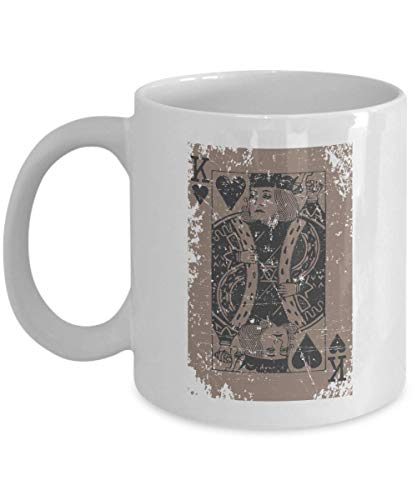 Vintage Distressed King of Hearts Playing Cards Themed Coffee & Tea Gift Mug Cup for Card Tricks Magician, Magic Trick Fan, Magical Illusion Lover, Card Game Lovers, Illusionist & Street Magicians