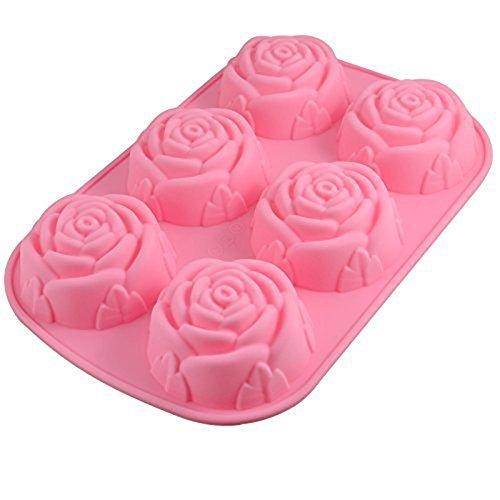 Hosaire Molde de silicona de 6 cavidades en forma de rosa para hacer en casa jabón, pastel, magdalena, pan, panecillo, pudín, gelatina, y más