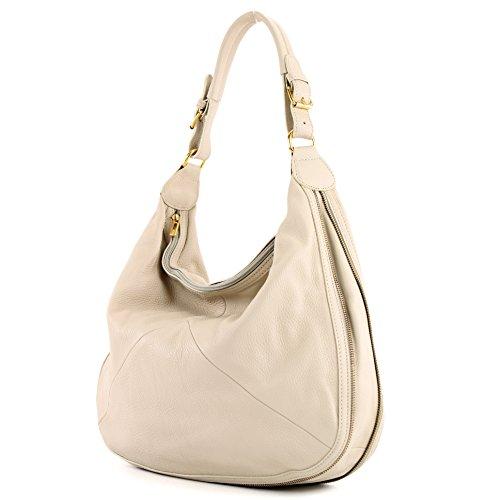 modamoda de® - ital. Handtasche Tasche Damentasche Beuteltasche Ledertasche Echt Leder T71 Beige