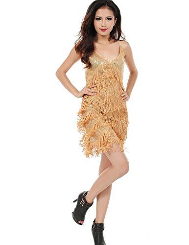 Frauen Ärmel lateinischer Tanz-Kleid-Partei-Kostüm der 1920er Jahre Sequin Röcke (Latino Kostüm)
