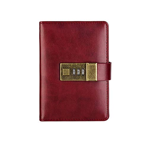 ZLJHH Password Notebook   Carta Bloccabile Portatile In Pelle Pu Diario Di Blocco Traveler Journal Weekly Planner Regali Della Scuola,Wine Red