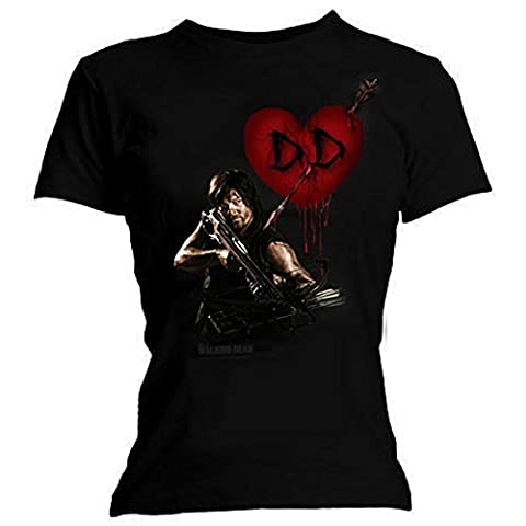 Official Skinny T Shirt THE WALKING DEAD Daryl Dixon LOVE Wings L 12