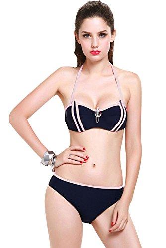 TBS Women's Solid Navy Contrast Tube Stripes 3pcs Women Swimsuit
