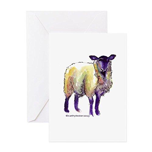 CafePress - Schwarzes Gesicht Schaf - Grußkarte (10-er Pack), Notizkarte, Innenseite blanko, Geburtstagskarte, glänzend -