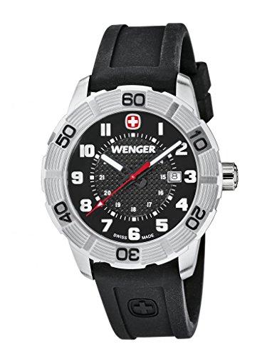 Wenger Roadster 01.0851.101 - Reloj analógico de cuarzo para hombre, correa de silicona color negro (agujas luminiscentes)