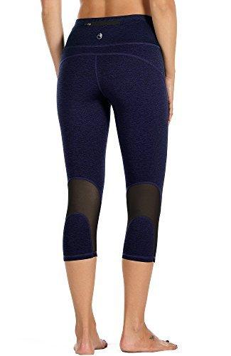 icyzone Damen Sport Mesh Leggings - 3/4 Sporthose kurz Training Tights Fitness Capri Yoga Pants (M, Purple)