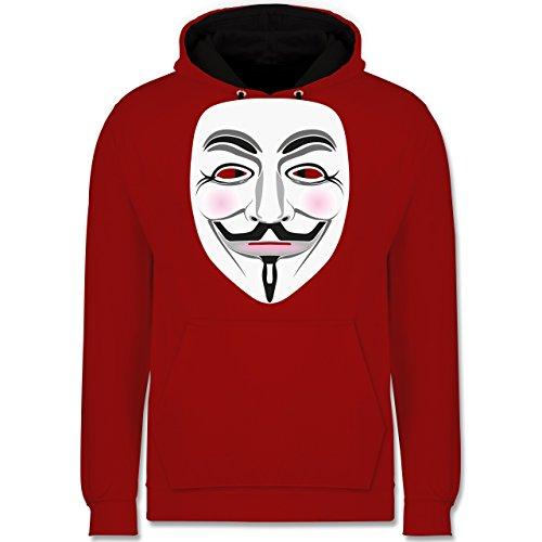 Shirtracer Nerds & Geeks - Anonymous Maske Hacker - S - Rot/Schwarz - JH003 - Kontrast Hoodie - Oversize-rechner