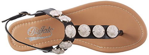Buffalo David Bitton 315102 Gm S10110 Nappa, Sandales Bout Ouvert Femme Noir (Black943)