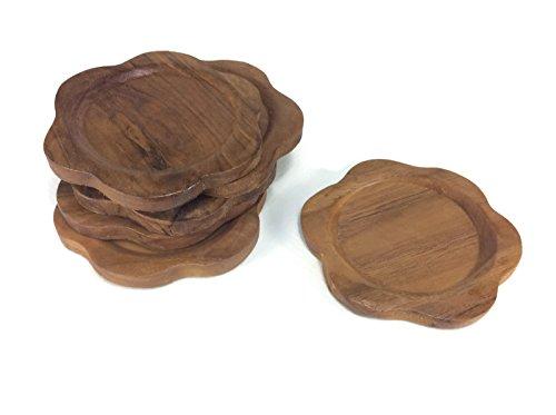 Untersetzer Holz Blume Form Untertassen Drink handgefertigt Teakholz Halter Spender Becher Halter 6Stück -