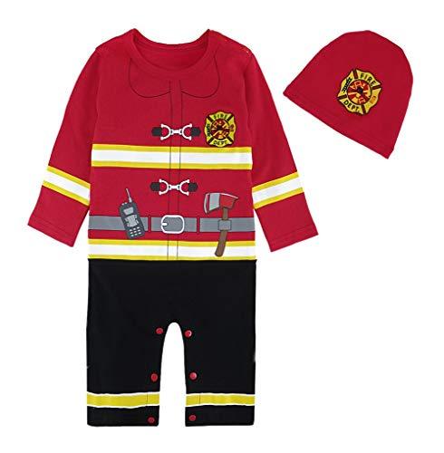 Mombebe Baby Jungen Feuerwehrmann Kostüm Strampler Lange Ärmel mit Hut (Feuerwehrmann, 3-6 Monate)