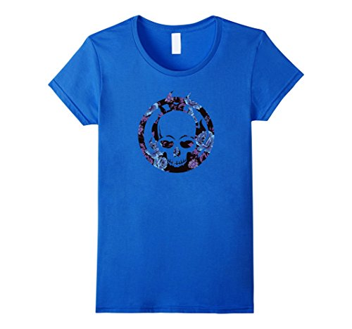 Marvel Womens Ghost Rider Flame Skull Logo Flowers Graphic T-Shirt Large Royal Blue (Flame Blue T-shirt Skull)