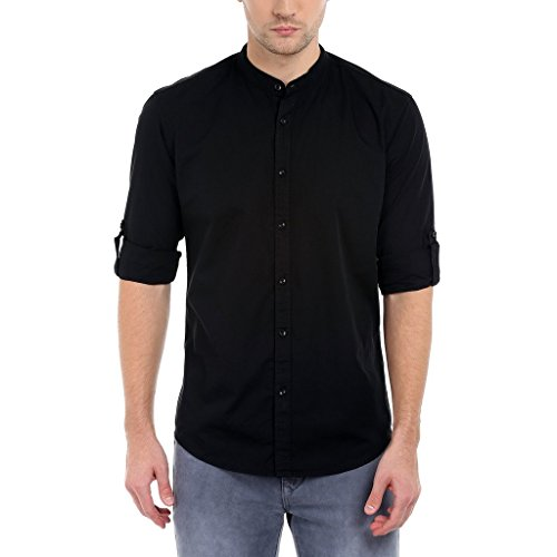 Dennis Lingo Men's Solid Casual Full Sleeves Slim fit Black Cotton Shirt