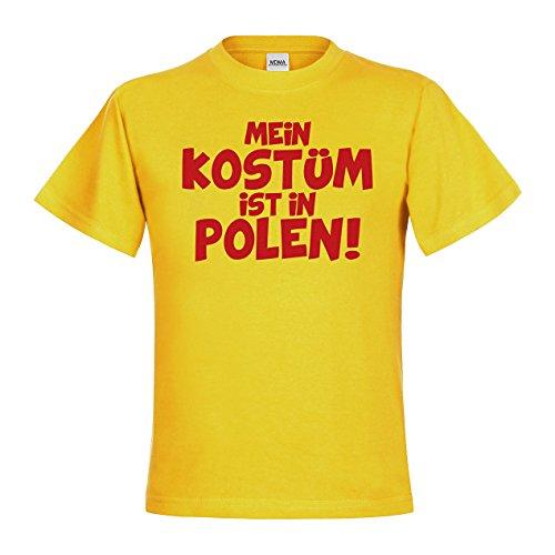 Kostüm Weihnachten Polen - MDMA Kids Kinder T-Shirt Mein Kostüm ist in Polen! mdma-kt00444-256 Textil gold / Motiv rot Gr. 98/104