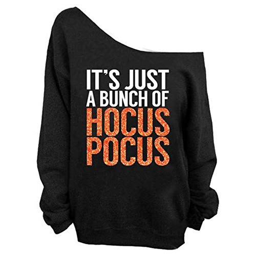 Queenromen Damen It's Just A Bunch of Hocus Pocus T-Shirt Lange Ärmel Off Shoulder Tops Halloween Kostüm(XL Schwarz) (Hocus Pocus Kostüm Für Erwachsene)