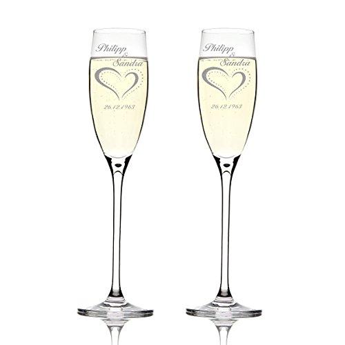 Deux flûtes LEONARDO Cheers Gravure motif : Cœur à pois