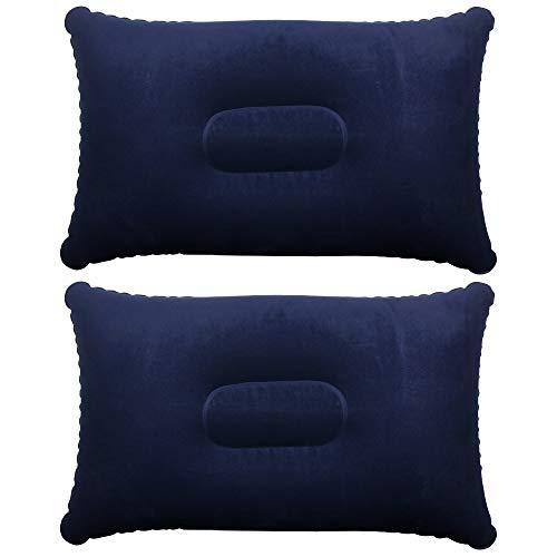Trixes 2 x morbidi cuscini gonfiabili per viaggio, spiaggia e campeggio - blu scuro - 35.5cm x 22cm x 10cm