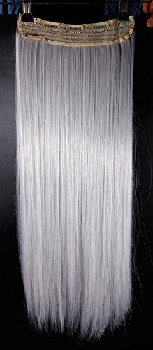 Extension dei capelli, 1 pezzi con 5 clips, 3/4 testa piena, colore: grigio argento, dimensioni: 66 cm-dritto