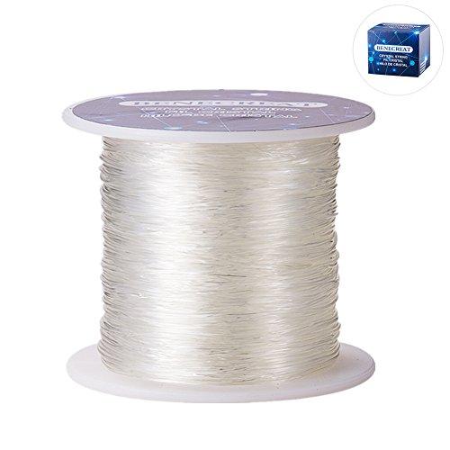 BENECREAT 150 m/rolle 0,8mm kristall gewinde elastische kabel stretch armband perlen stoff handwerk string (klar) (Stoff-perlen)