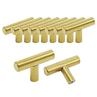 Probrico Pack of 10 Gold Stainless Steel Kitchen Cabinet T Bar Handle Furniture Drawer Pulls Cuoboard Knobs PS1123HGD(32mm Projection/50mm Long)