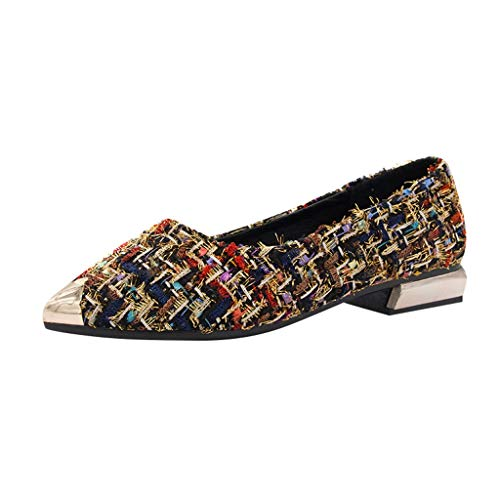 KERULA Damenmode Damen Metall Gemischte Farbe One-Shoulder-Toe Schuhe Zeigte Passenden Tuch Flachen Mund Mit Einzelnen Schuhen
