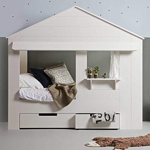 lounge-zone Hüttenbett Kinderbett Hausbett Haus Bett Abenteuerbett Spielbett HUISIE Massivholz Holz weiß Kiefer gebürstet 90x200cm INKL 2 SCHUBLADEN 13739