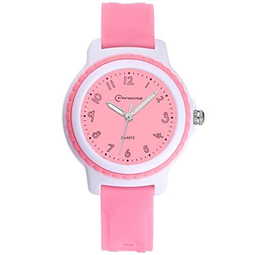 Kinderuhren Jungen Mädchen, Kinder Wasserdichte Analoge Uhr Zeitunterricht Armbanduhr Kinder (Rosa)