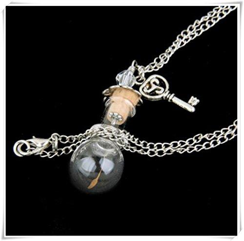 Löwenzahn Samen machen Hand geblasen Glas Ball Kugel Silber Halskette