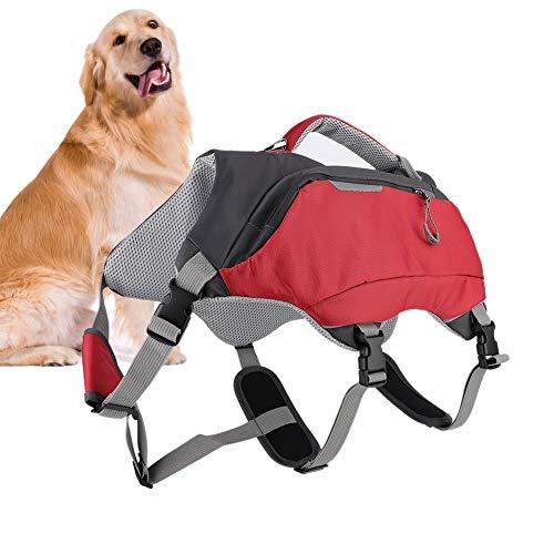 2 in 1 Hundesattel Rucksack Einstellbare Hound Satteltasche Rucksack Wandern Camping Travel Pack Outdoor Zubehör für mittlere und große Hunde(L)