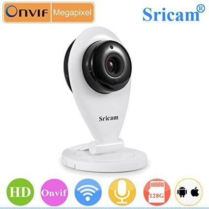 Onever Sricam SP009 P2P Home Wireless WiFi IP Kamera Monitor mit H.264 1.0MP HD 1280 x 720P 30fps 8M IR Nachtsicht Zweiwege-Audio Integriertes Mikrofon Lautsprecher Bewegungserkennung Pfeife Alarm App Benachrichtigung für Android iOS Gerät (Brennweite-audio-lautsprecher)
