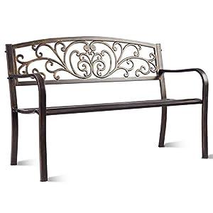 COSTWAY Gartenbank Parkbank Eisenbank Gartenmöbel Stahlrahmen, Ruhebank mit Rückenlehnen, Sitzbank aus Gusseisen…
