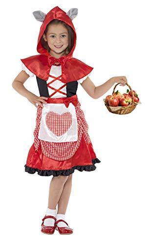 Für Scary Kostüm Kleine Mädchen - Smiffys Kinder Miss Hood Kostüm, Kleid und Kapuzenumhang mit angesetzten Wolfsohren, Größe: M, 41100