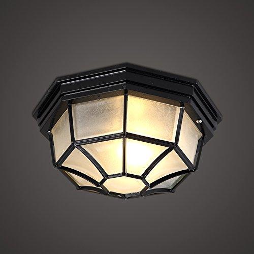 KHSKX Lampada da soffitto,American industrial lampada da soffitto portico vintage idee sala da pranzo soffitto del corridoio semplice ferro battuto 250*120mm , nero