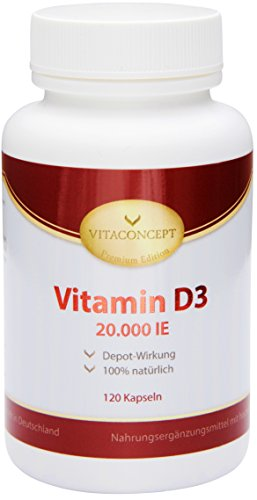 Vitamin D3 20.000 IE Depot *nur eine Tablette alle 20 Tage* 120 Tabletten* Made in Germany - VITACONCEPT