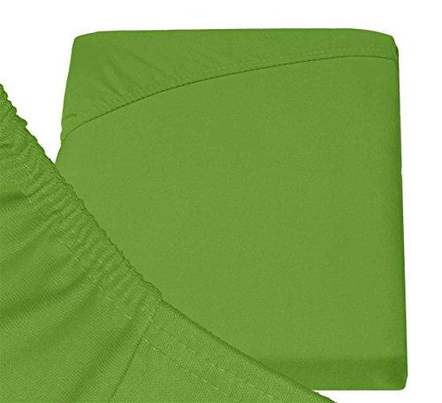 Double Jersey - Spannbettlaken 100% Baumwolle Jersey-Stretch bettlaken, Ultra Weich und Bügelfrei mit bis zu 30cm Stehghöhe, 160x200x30 Grün - 6