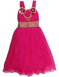 POPCORN Girls' A-Line Dress (Red, 4-5 Years)